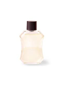 Glazen fles met iemands eau de cologne op witte achtergrond