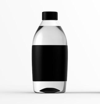 Glazen fles met water geïsoleerde transparante vloeistofcontainer kleurmodel duidelijk zwart label item