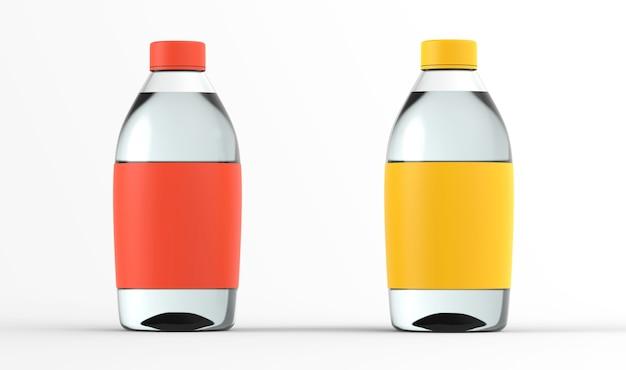 Glazen fles set met water 3d render collectie transparante vloeistofcontainer kleur mockup