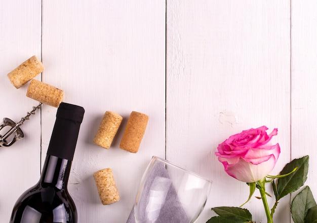 Glazen fles wijn
