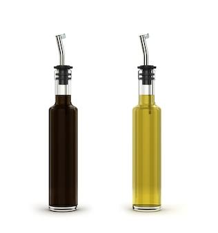 Glazen flessen zonnebloemolie met een metalen dispenser op wit wordt geïsoleerd