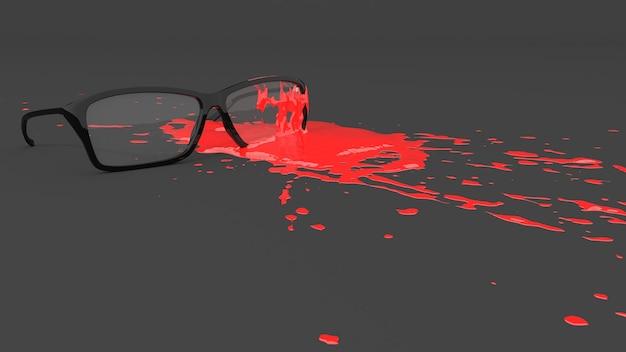 Glazen gekleurd met rode verf in de vorm van een vlek, 3d illustratie
