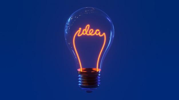 Glazen lamp met idee woorden binnen