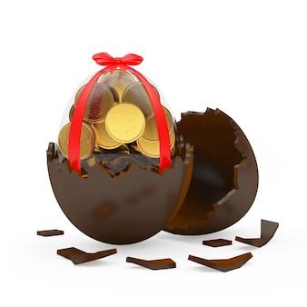 Glazen paasei vol munten in chocolade eierschaal