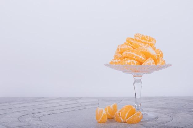 Glazen plaat van mandarijn.