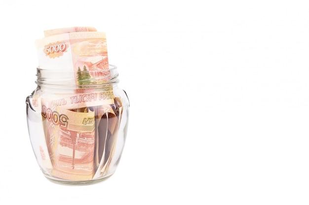 Glazen pot met geld