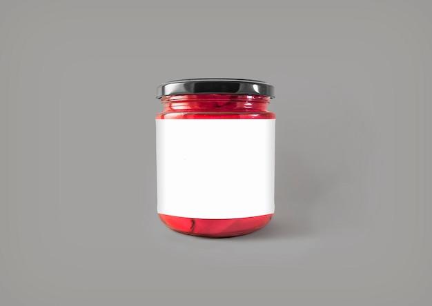 Glazen pot met label