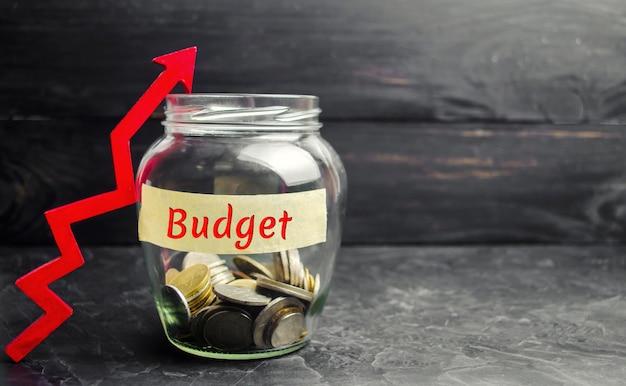 Glazen pot met munten en de inscriptie budget