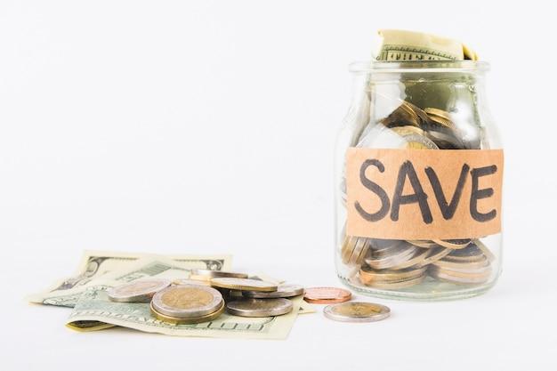 Glazen pot voor besparingen
