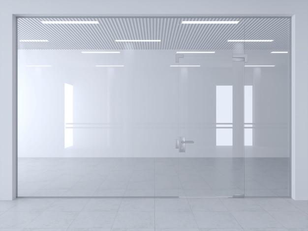 Glazen scheidingswand en deuren in kantoor of winkel.