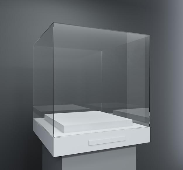 Glazen vitrine in de vorm van een kubus