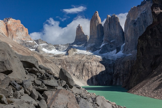 Gletsjerlagune in het nationale park torres del paine