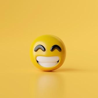 Glimlach emoji pictogram op gele achtergrond 3d illustratie