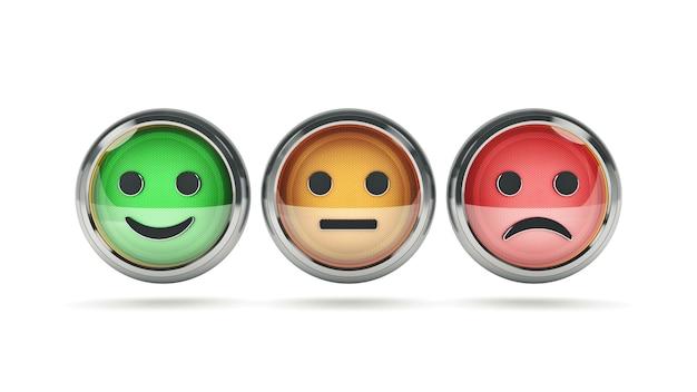 Glimlach frons knoppen voor website 3d-rendering