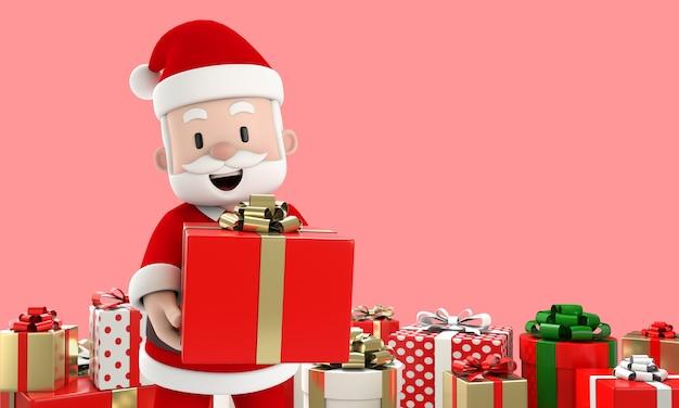 Glimlach kerstman met een rode geschenkdoos en veel geschenkdozen zijn overal op roze achtergrond. kerstmis en nieuwjaar concept. 3d render.