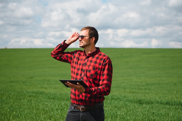 Glimlachende gelukkige jonge landbouwer of landbouwingenieur met behulp van een tablet in een tarweveld. groothoek panoramische foto