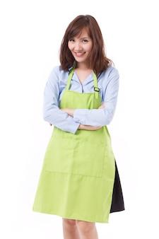 Glimlachende gelukkige winkeleigenaar van kleine bedrijven
