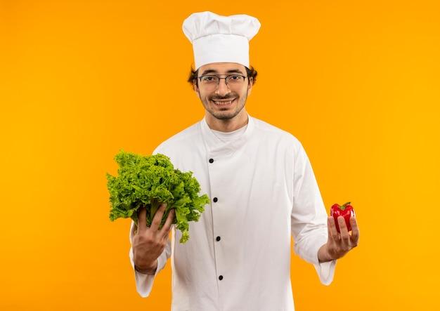 Glimlachende jonge mannelijke kok die eenvormige chef-kok en glazen draagt die salade en peper houden die op gele muur wordt geïsoleerd