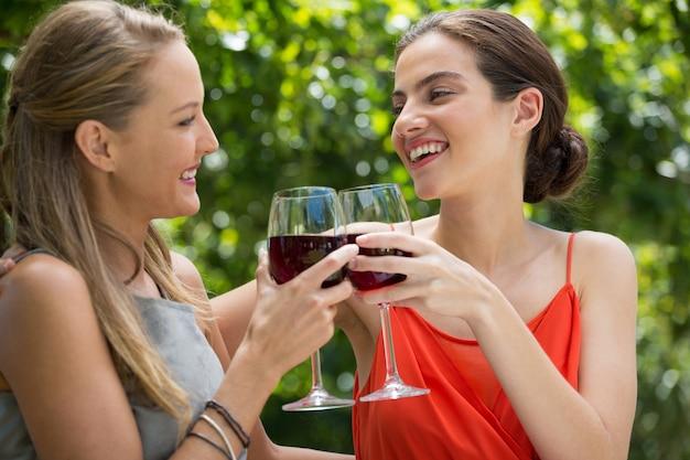 Glimlachende jonge vrouwelijke vrienden die rode wijnglazen roosteren bij restaurant