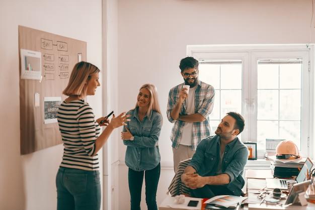 Glimlachende vrouwelijke architect die over project met in hand teller spreekt. drie andere collega's lachten en luisterden naar haar. start bedrijfsconcept.