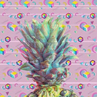 Glitchy stijl ananas