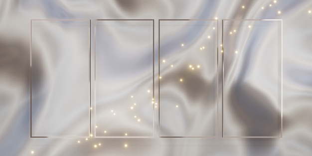 Glitter luxe frame-achtergrond voor het plakken van tekst en inhoud 3d-illustraties