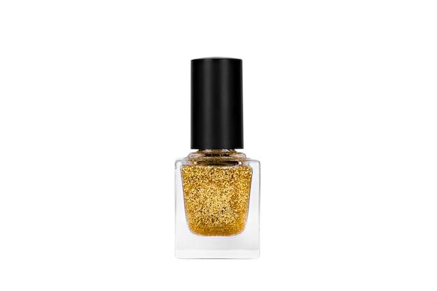 Glitter nagellak gouden kleur isolaat