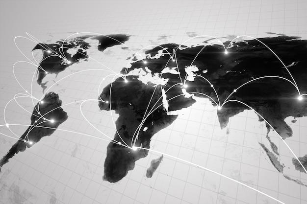 Globaal bedrijfsconcept verbindingen en informatieoverdracht in de wereld in zwart-witte 3d illustratie