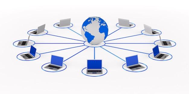 Globaal netwerk. geïsoleerde 3d-weergave