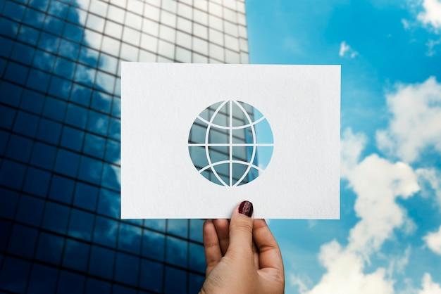 Globalisering netwerktechnologie geperforeerd papier wereld