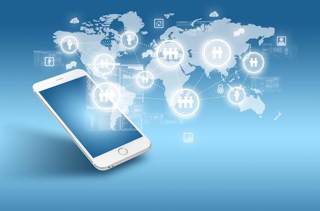 Globalisering of sociaal netwerkconcept met nieuwe generatie mobiele telefoons