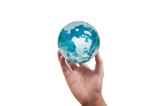 Globe, aarde in de hand, houdt onze planeet gloeiend. earth-afbeelding geleverd door nasa