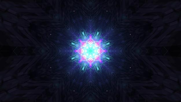 Gloeiend holografisch patroon in duisternis 4k uhd 3d illustratie