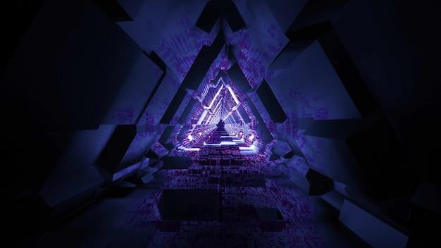 Gloeiend knipperend licht sciencefiction ruimte tunnel lichteffect 3d illustratie vfx achtergrondbehang