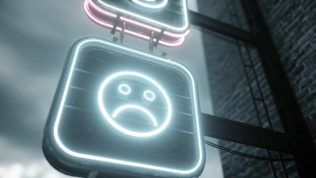Gloeiend zet neonreclames aan met grappige en droevige emoticons tegen de achtergrond van een bewolkte hemel.