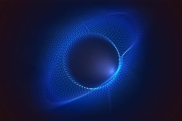 Gloeiende cirkels van stippen met scherptediepte-effect. zwart gat, bol, cirkel. muziek, wetenschap, technologie deeltjes achtergrond.