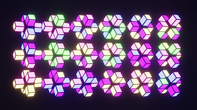Gloeiende geometrische vormen 4k uhd 3d illustratie