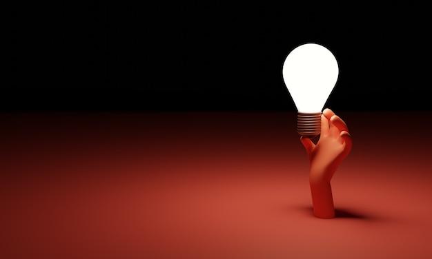 Gloeiende gloeilamp in de hand. creatief idee en innovatieconcept, 3d illustratie