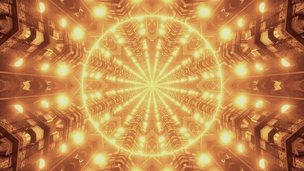 Gloeiende gouden lichten vormen symmetrisch geometrisch cirkelpatroon binnenkant van futuristische tunnel als abstracte achtergrond 4k uhd 3d illustratie