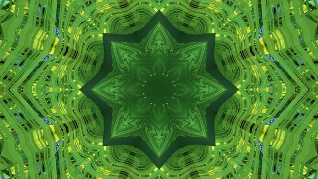 Gloeiende groene 3d illustratie abstracte visuele achtergrond met stervormig patroon en reflecterend caleidoscopisch ontwerp