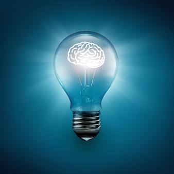 Gloeiende hersenen in de afbeelding van het lampideeconcept