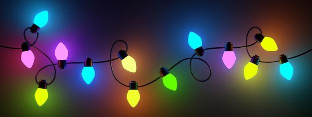 Gloeiende kleurrijke kerstverlichting op zwarte achtergrond. 3 d renderen.
