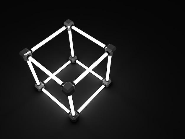 Gloeiende kubussen van fluorescerende buizen. abstracte compositie van geometrische verwerkingsfaciliteiten