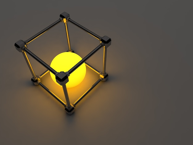 Gloeiende kubussen van tl-buizen. abstracte compositie van geometrische verwerkingsfaciliteiten.