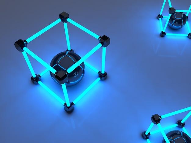 Gloeiende kubussen van tl-buizen. abstracte compositie van geometrische verwerkingsfaciliteiten