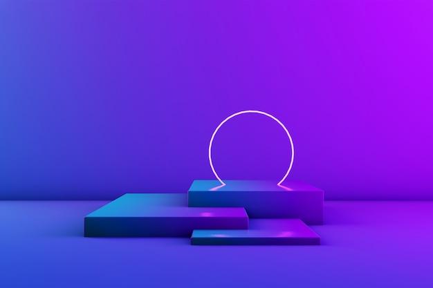 Gloeiende neon cirkel in de kamer. podium voor product of tekst. trendy kleuren. 3d-rendering. copyspace