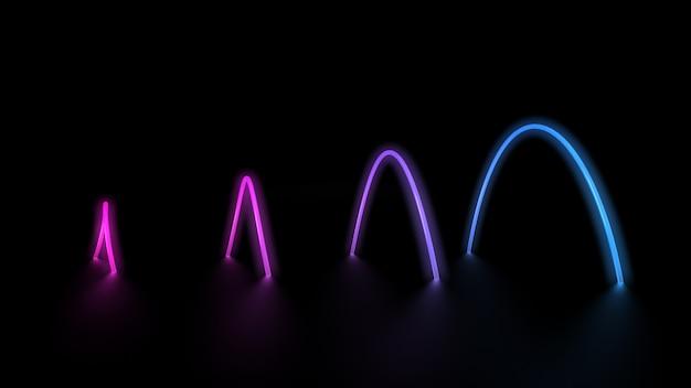 Gloeiende neon lasercirkels