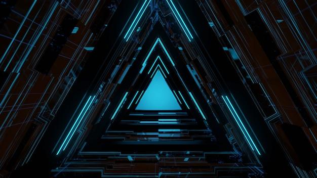 Gloeiende neonlaserlijnen met zwarte achtergrond, moderne uitstraling, gratis foto, 3d-rendering.