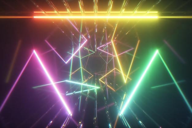 Gloeiende neonlijnen creëren een tunnel, veelkleurig spectrum
