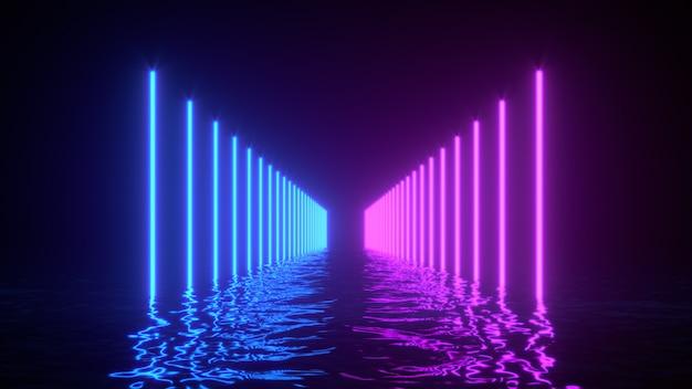 Gloeiende neonlijnen met reflecties in het wateroppervlak.